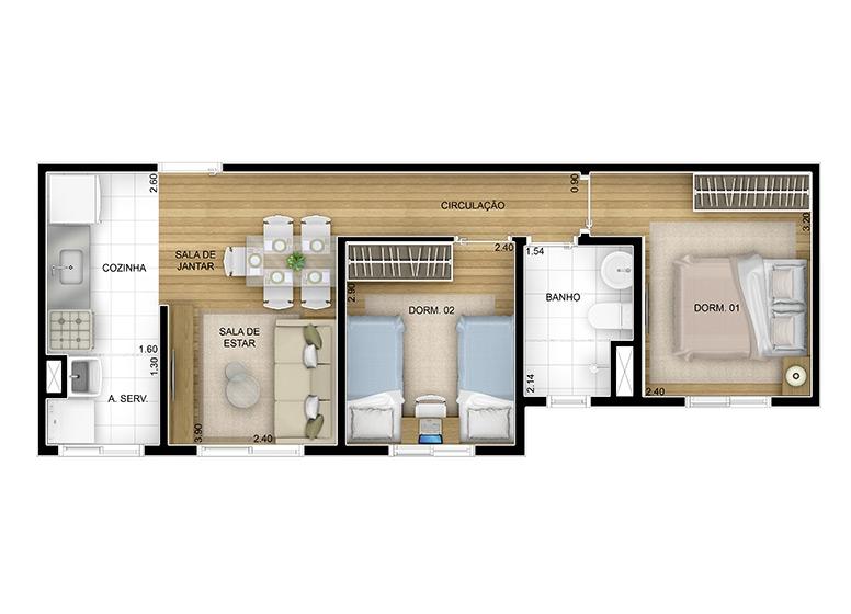 2 dorms. 43,88m² - perspectiva ilustrada
