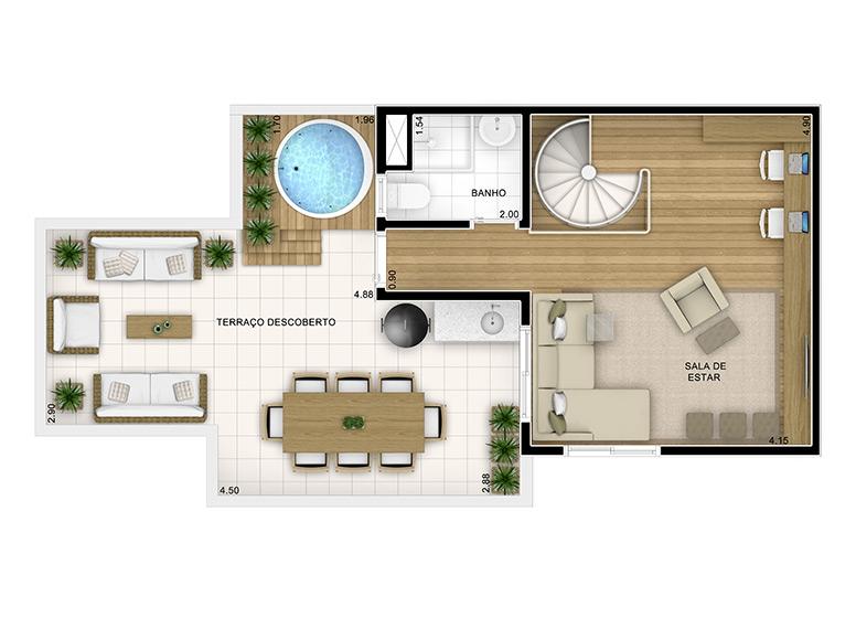 Duplex Superior 3 dorms 112,96m²  (2/3) - perspectiva ilustrada