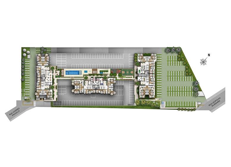 Implantação  - perspectiva ilustrada - Fatto Reserva Vila Rio