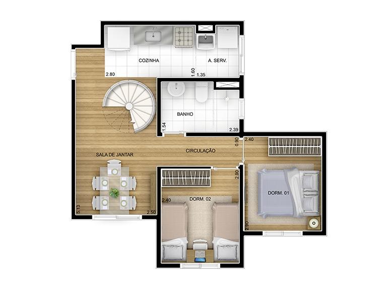 2 dorms. 43,92m² - perspectiva ilustrada