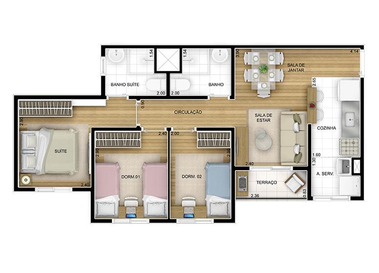 3 dorms. 57,19m² - perspectiva ilustrada