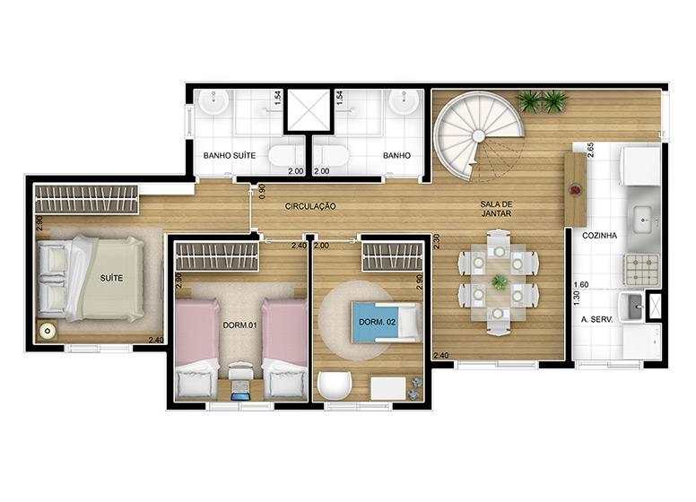 Duplex Inferior 3 dorms 112,96m²  (2/3)- perspectiva ilustrada - Fatto Reserva Vila Rio