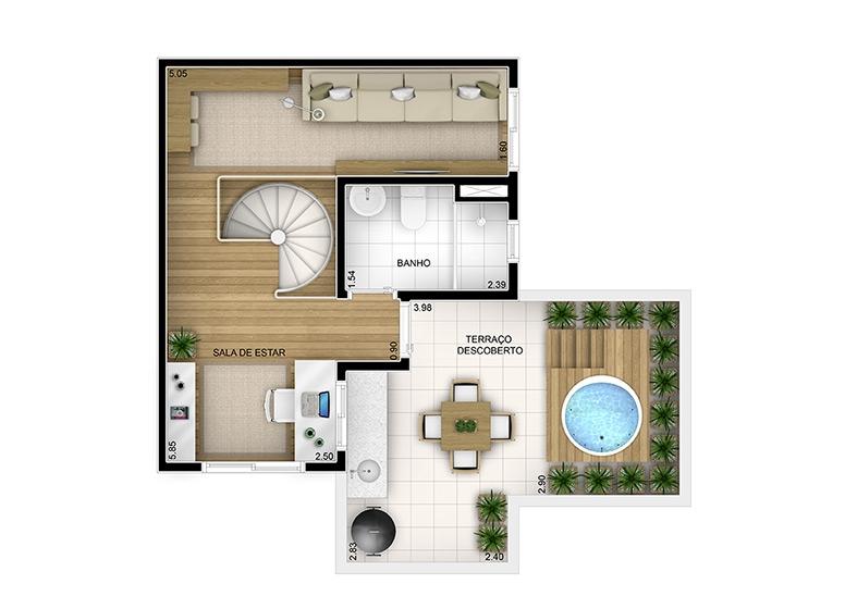Duplex Superior 2 dorms 86,63m²  (6/7)- perspectiva ilustrada - Fatto Reserva Vila Rio