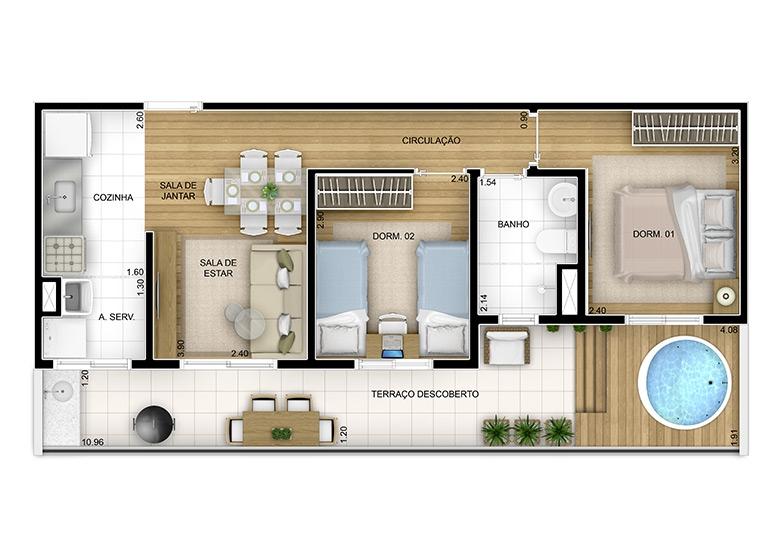 Giardino 2 dorms -61m² (4/5) - perspectiva ilustrada