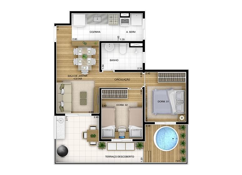 Giardino 2 dorms -61m² (6/7)- perspectiva ilustrada