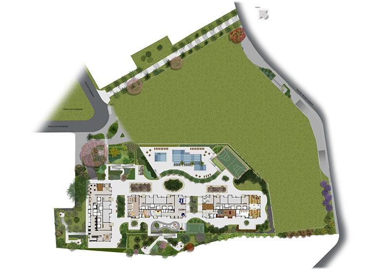 Implantação gramado (perspectiva ilustrada) - Start São Bernardo