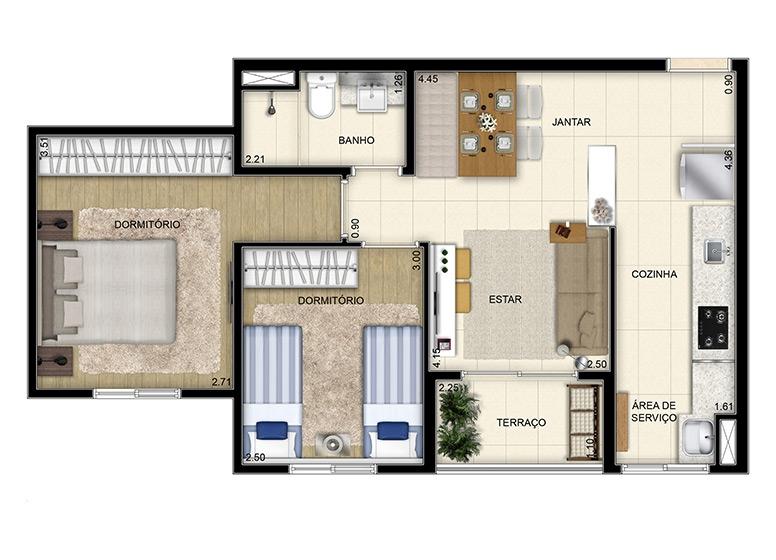 2 dorms. 51.52m² (perspectiva ilustrada) - Start São Bernardo