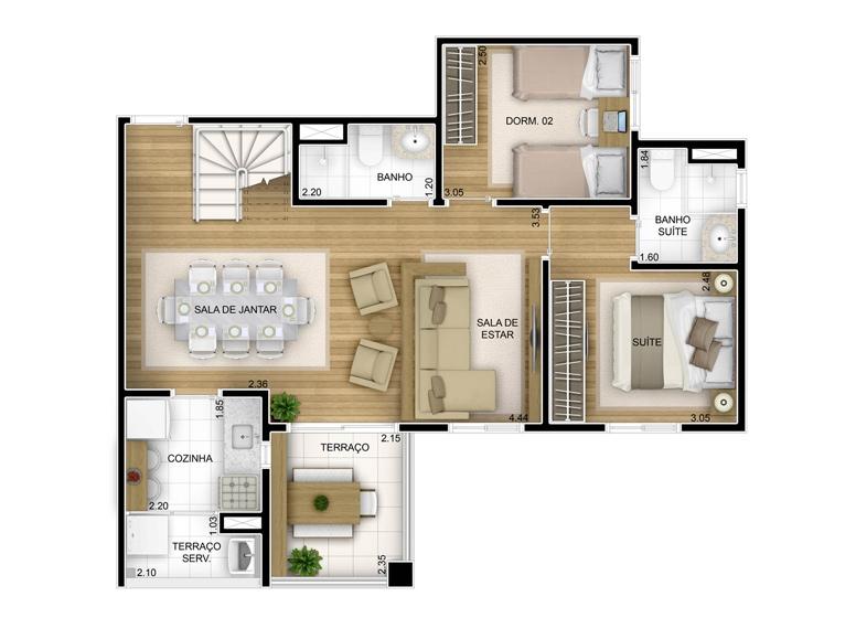 3 dorms com suíte - duplex inferior com sala ampliada - 136,35m² - perspectiva ilustrada