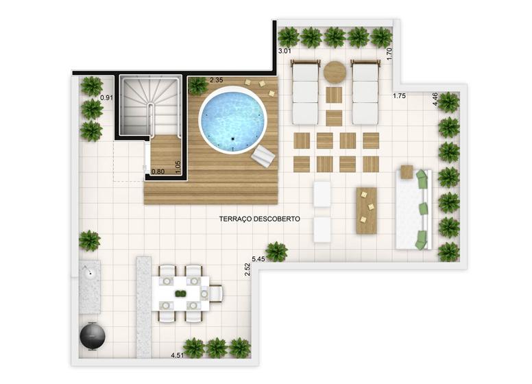 3 dorms com suíte - duplex superior - 136,35m² 136,35m² - perspectiva ilustrada