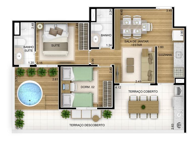 Terraza 2 dorms com suíte - 73,03m² - perspectiva ilustrada - Fatto Unique