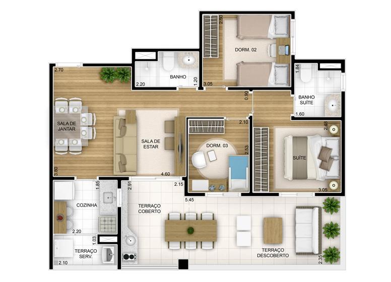 Terraza 3 dorms com suíte - 80,87m² - perspectiva ilustrada - Fatto Unique