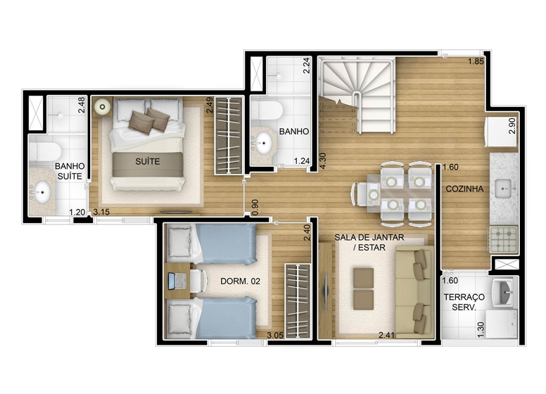 2 dorms com suíte - duplex inferior - 86,88m² - perspectiva ilustrada - Fatto Unique