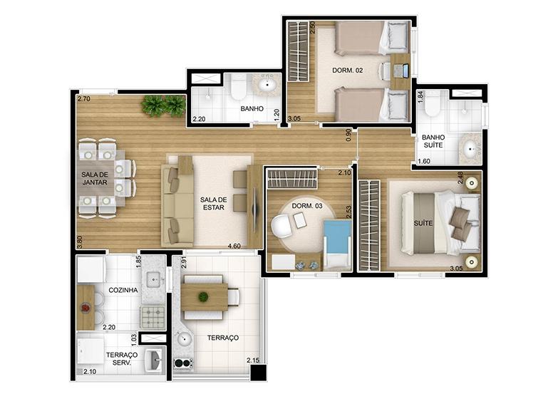 3 dorms - 67m² - perspectiva ilustrada
