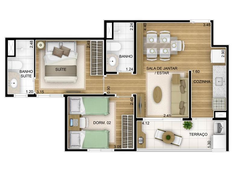 2 dorms - 51,64m² - perspectiva ilustrada