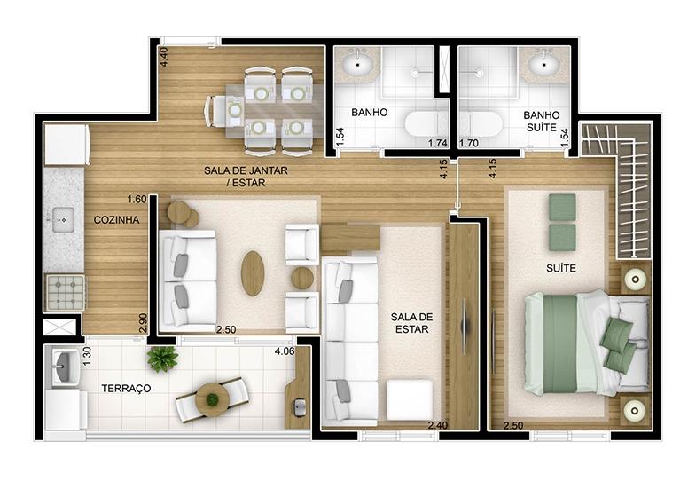 2 dorms com sala ampliada - 54,75m² - perspectiva ilustrada - Fatto Unique