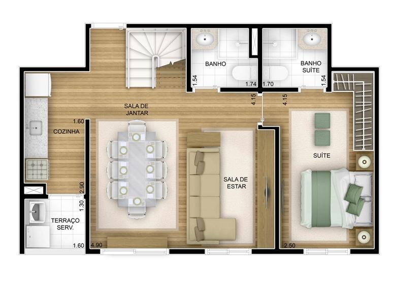 2 dorms com suíte - duplex inferior com sala ampliada 102,32m² - perspectiva ilustrada
