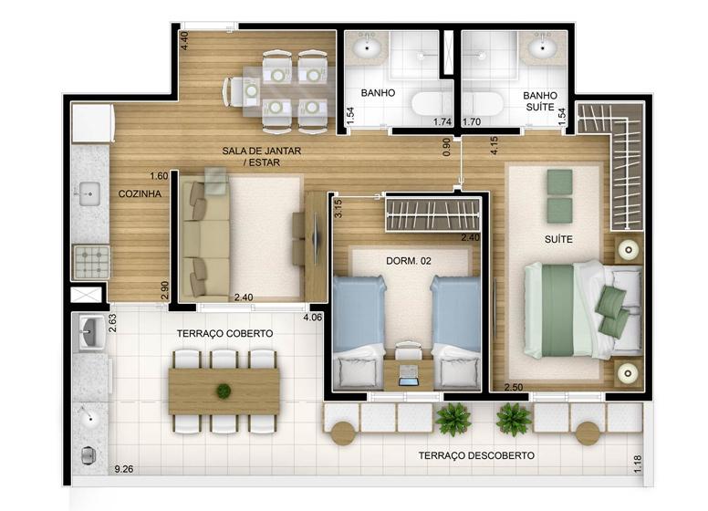 Terraza 2 dorms com suíte - 67,75m² - perspectiva ilustrada - Fatto Unique