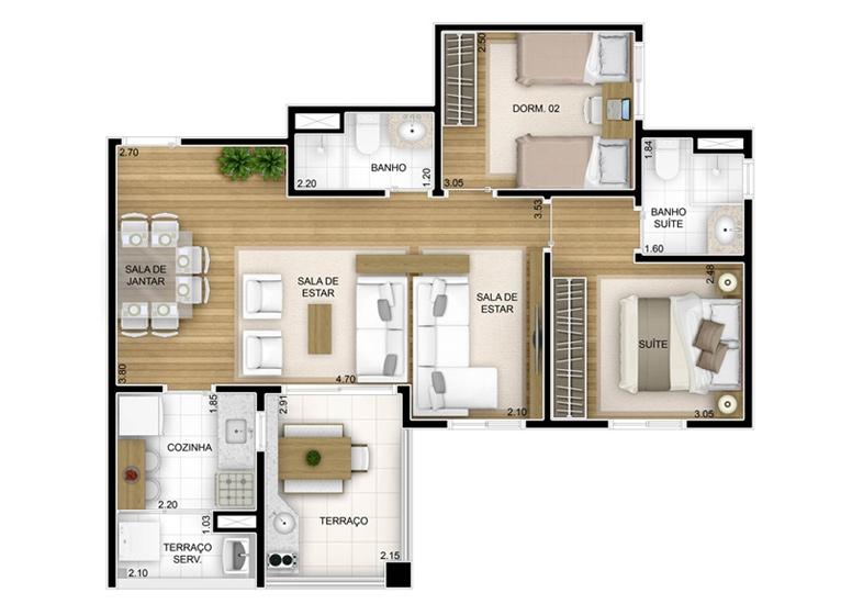 3 dorms com sala ampliada - 67m² - perspectiva ilustrada - Fatto Unique