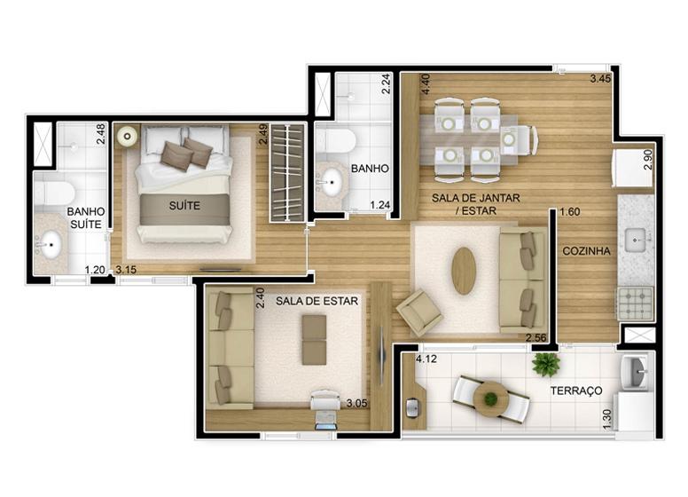 2 dorms com sala ampliada - 51,64m² - perspectiva ilustrada - Fatto Unique