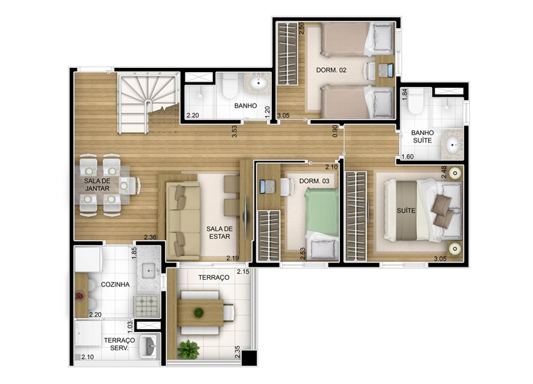 3 dorms com suíte - duplex inferior - 136,35m² - perspectiva ilustrada - Fatto Unique