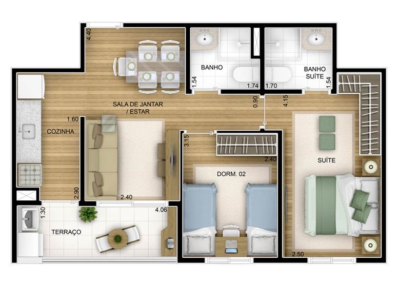 2 dorms - 54,75m² - perspectiva ilustrada