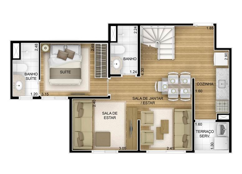 2 dorms com suíte - duplex inferior com sala ampliada - 86,88m² - perspectiva ilustrada