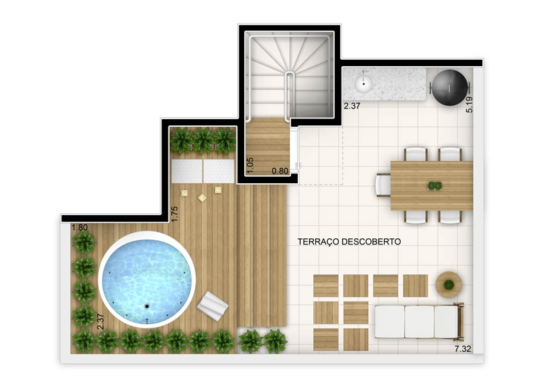 2 dorms com suíte - duplex superior - 86,88m² - perspectiva ilustrada - Fatto Unique