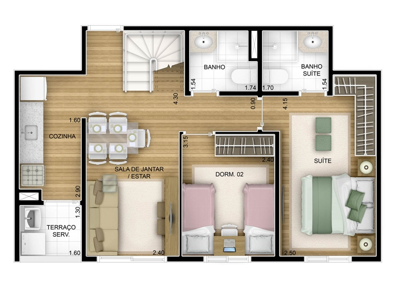 2 dorms com suíte - duplex inferior - 102,32m² - perspectiva ilustrada - Fatto Unique