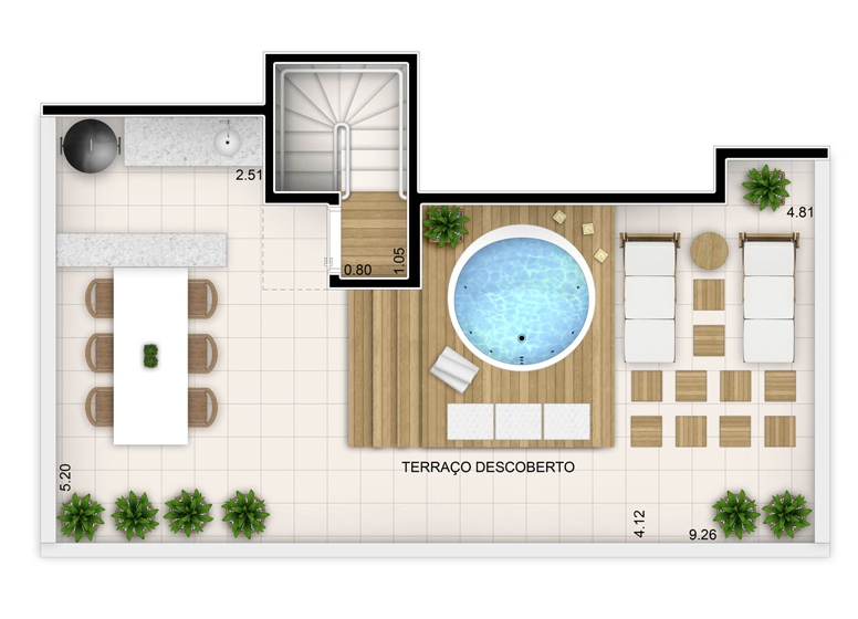 2 dorms com suíte - duplex superior - 102,32m² - perspectiva ilustrada - Fatto Unique