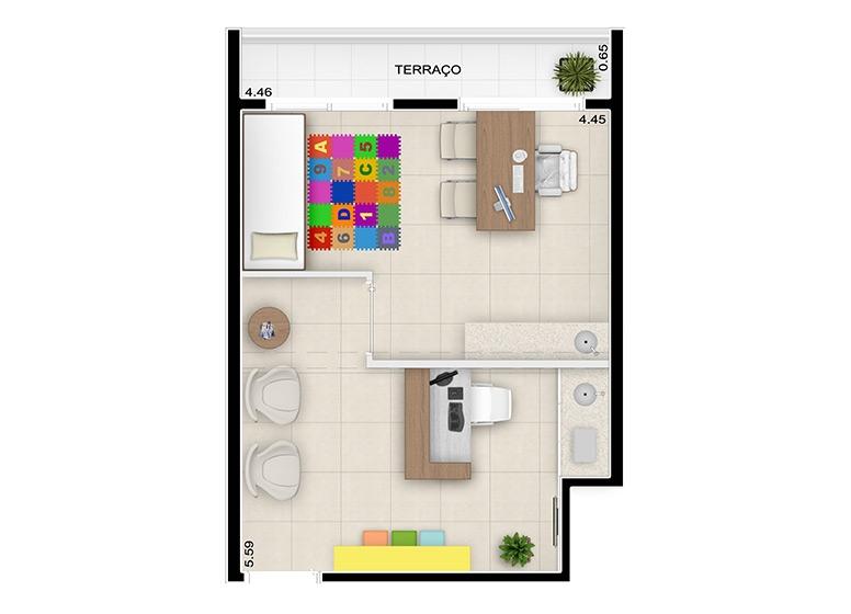 Planta consultório médico 30m² - perspectiva ilustrada