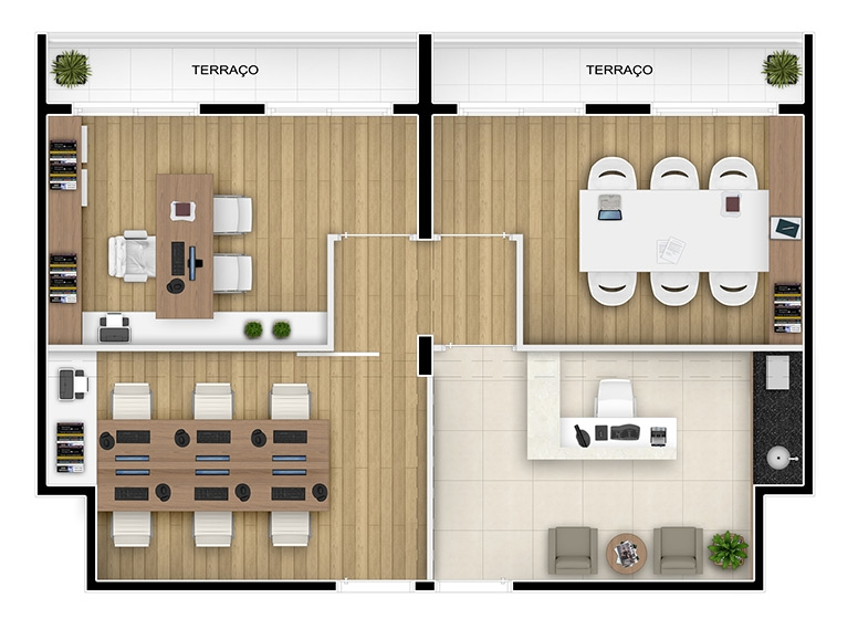 Planta escritório junção 61m², finais 25 e 26 - perspectiva ilustrada