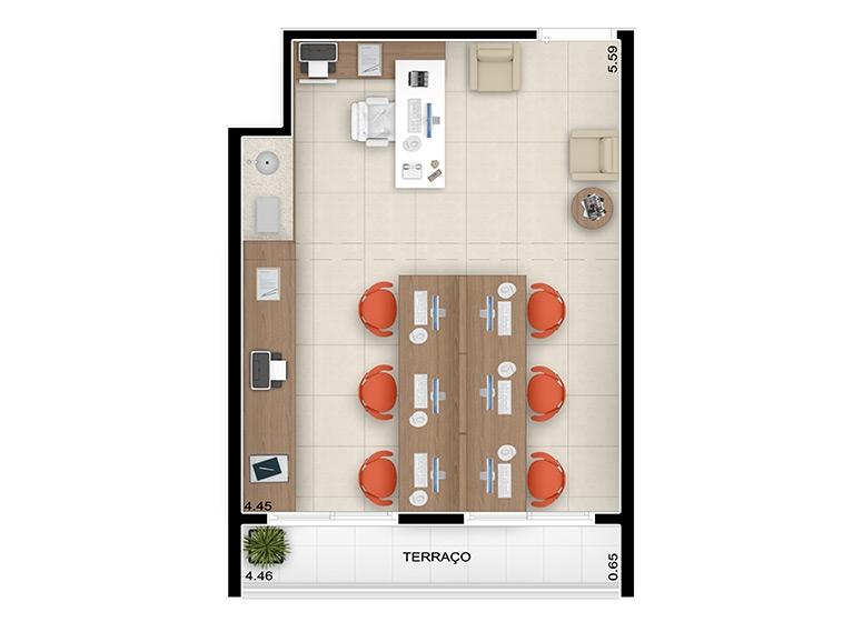 Planta escritório 30m², finais 3, 5, 7, 9 e 13 - perspectiva ilustrada