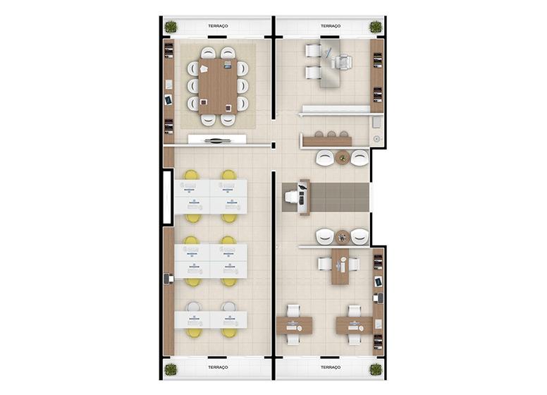 Planta escritório junção 130m², finais 1, 2, 27 e 28 - perspectiva ilustrada - Inspire Business