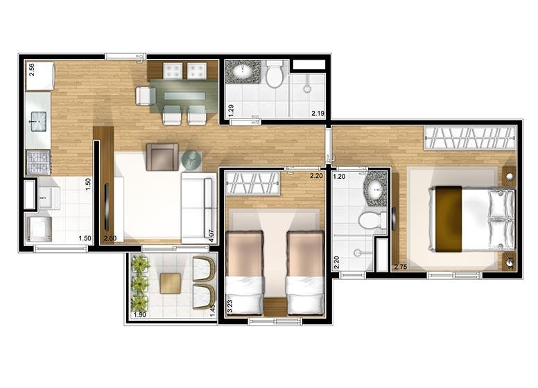 Planta 2 dorms - perspectiva ilustrada - Fatto Club Diadema