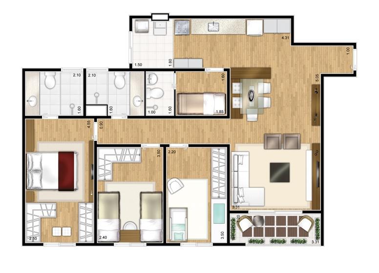 Planta 3 dorms c/ suíte - 87m² - perspectiva ilustrada