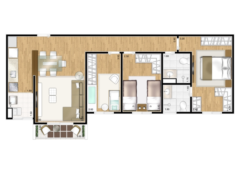 Planta 3 dorms c/ suíte - 71,78m² - perspectiva ilustrada