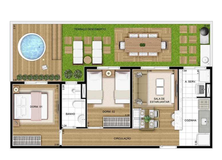 Giardino - 73.61m²- perspectiva ilustrada - CERTTO CURUÇA CLUB