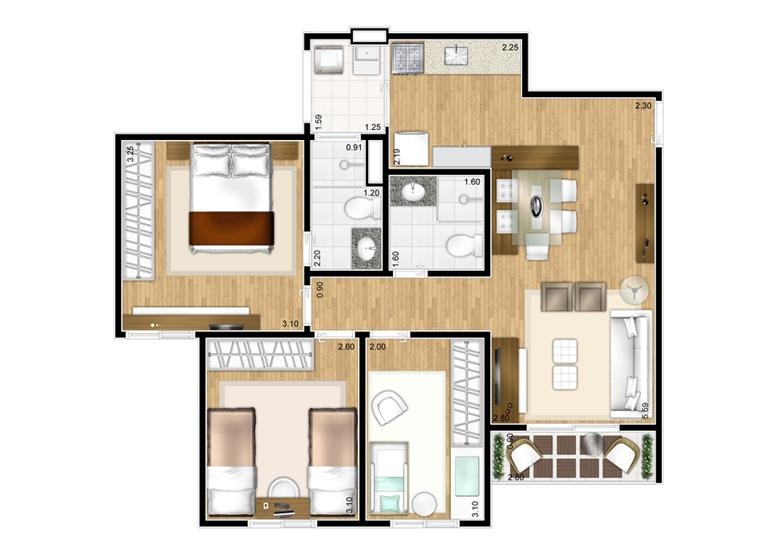 Planta 3 dorms - 65m² - perspectiva ilustrada