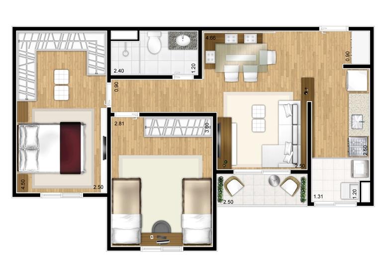 Planta 2 dorms - 53,40m² - perspectiva ilustrada