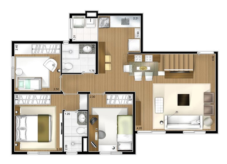 Cobertura duplex inferior 3 dorms 127m² - perspectiva ilustrada
