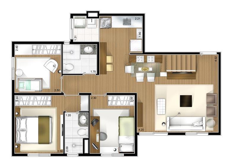 Cobertura duplex inferior 3 dorms 127m² - perspectiva ilustrada - Fatto Novo Avelino