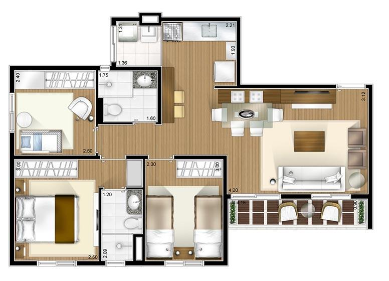 Planta 3 dorms 63m² - perspectiva ilustrada - Fatto Novo Avelino