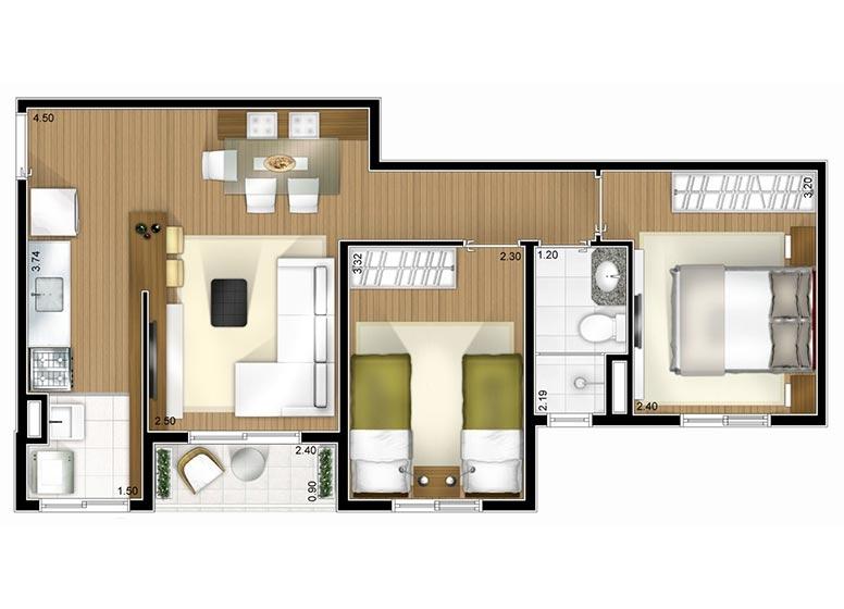 Planta 2 dorms 48m² - perspectiva ilustrada