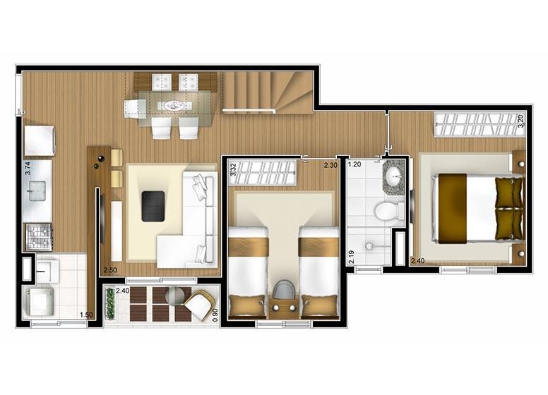 Cobertura duplex Inferior 2 dorms 97m² - perspectiva ilustrada