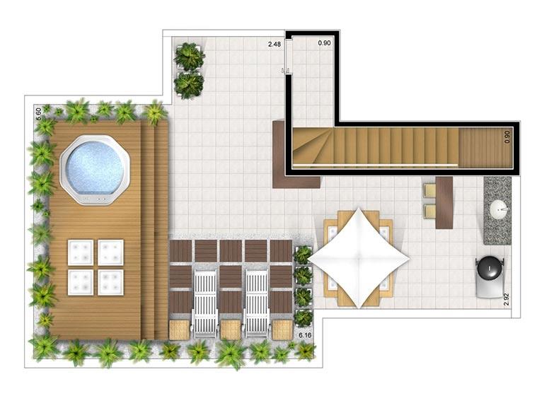 Cobertura duplex superior 3 dorms 127m² - perspectiva ilustrada