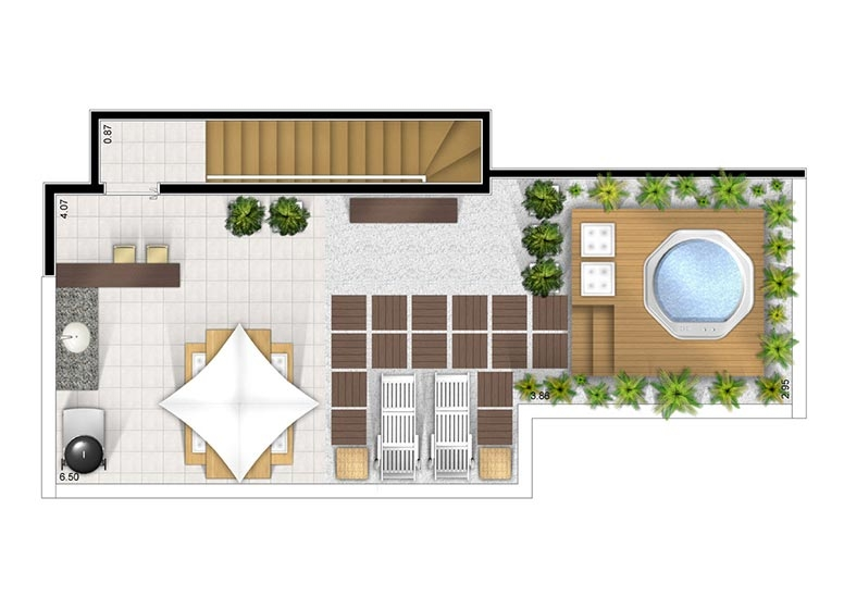 Cobertura duplex superior 2 dorms 97m² - perspectiva ilustrada