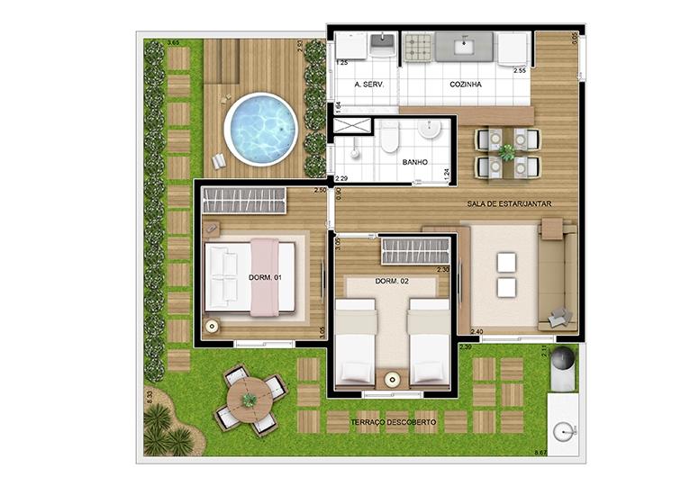 Giardino ponta - 76,81m² - perspectiva ilustrada
