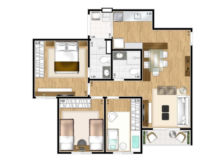 Planta 3 dorms - 65,60m² - perspectiva ilustrada - Fatto Show São Bernardo - Soul