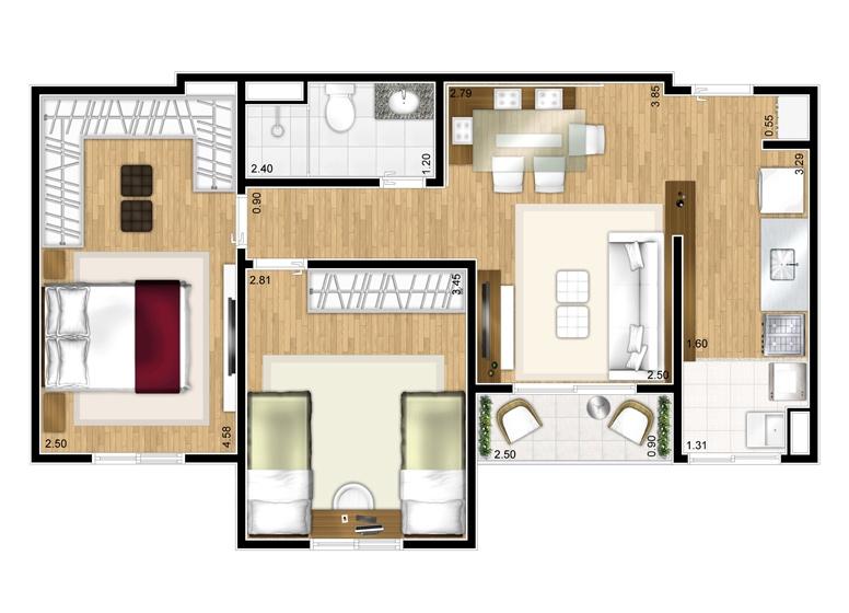 Planta 2 dorms - 53,05 m² - perspectiva ilustrada
