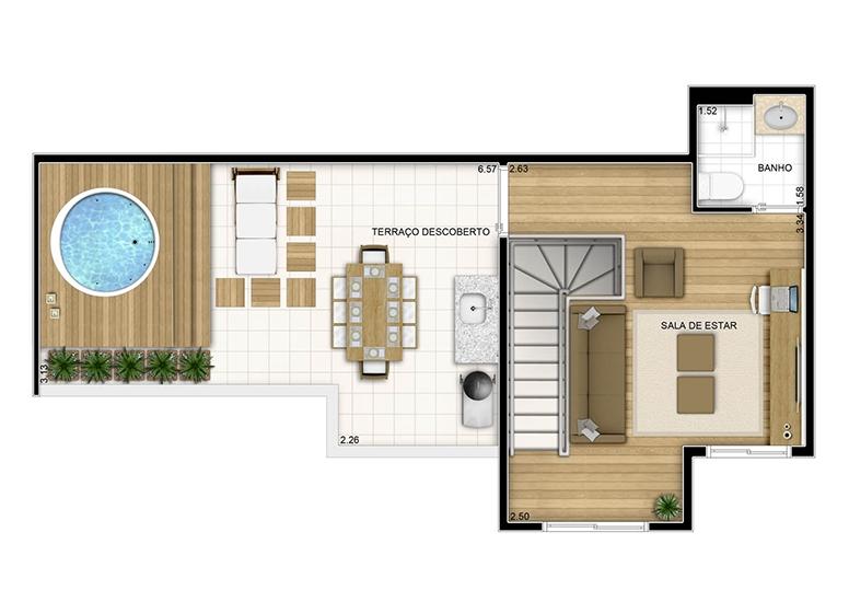 Duplex superior - 96.86m² - perspectiva ilustrada